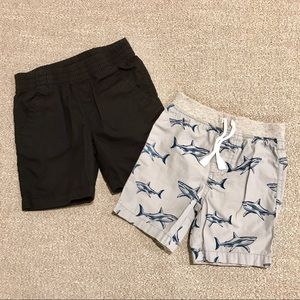 2 pair toddler boy shorts - black and blue sharks